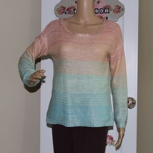 Willow & Clay Metallic Blue/Peach Pastel Sweater S